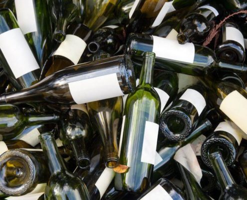 disorganized wine bottle mess