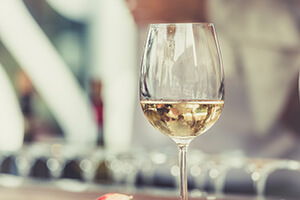 chilled glass of white wine