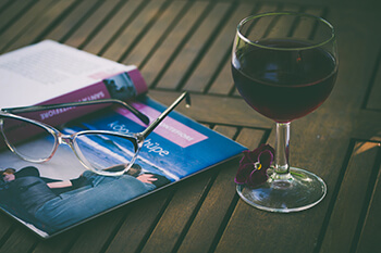 red wine and a book