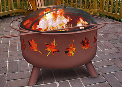 tree leaves fire pit
