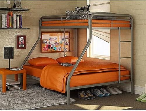 Dorel twin over full metal bunk bed frame with ladder