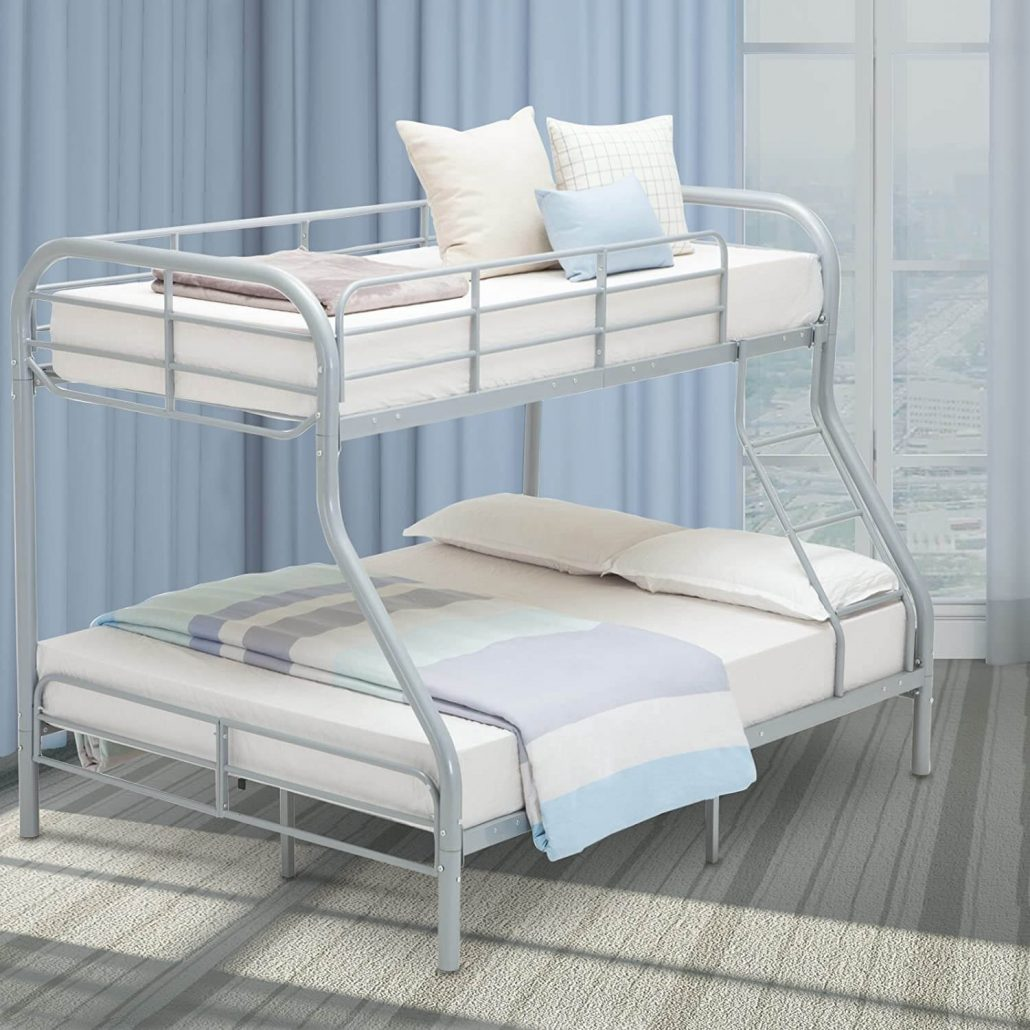 Lagrima twin over full modern metal bunk bed frame with ladder