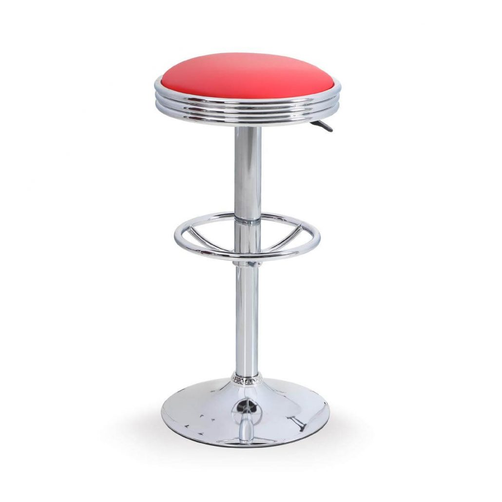 Alpha Home retro style swivel bar stool with chrome footrest.