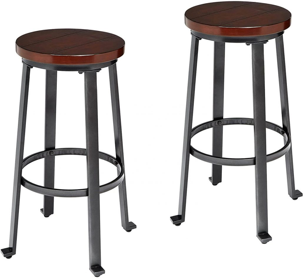 Ball and Cast rustic wood plank modern barstools in brown.