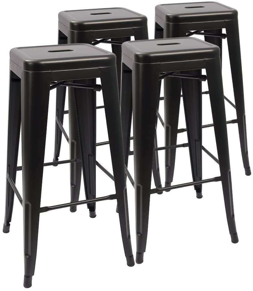 Devoko modern industrial metal barstools, set of four.