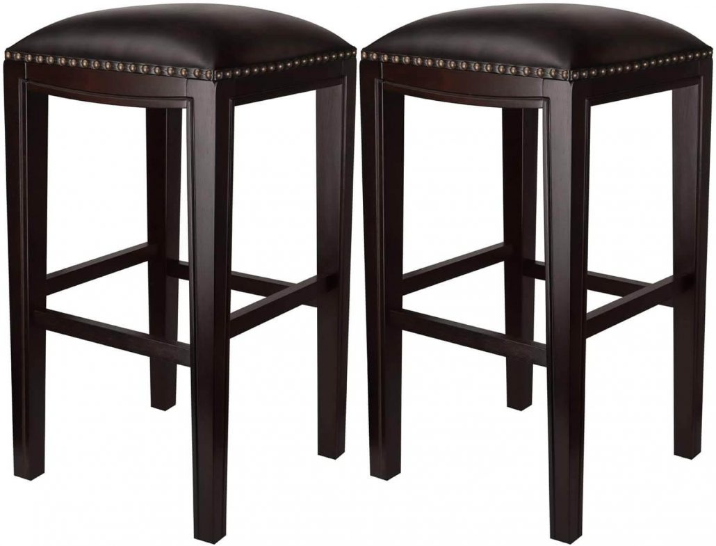 Furgle faux leather upholstered modern barstools in espresso.