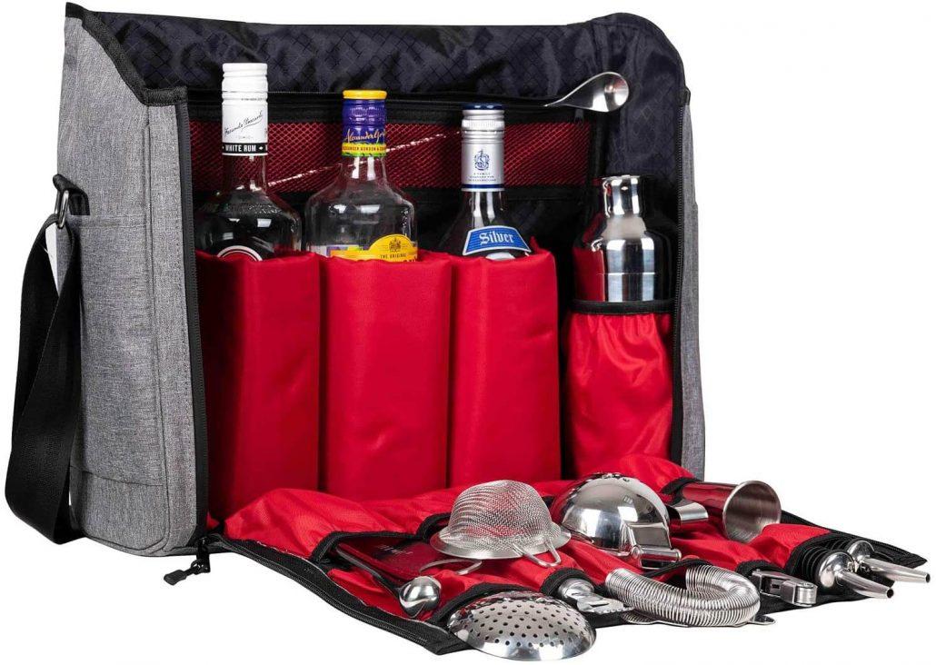 Jillmo home bar accessories barware set with waterproof travel bag.