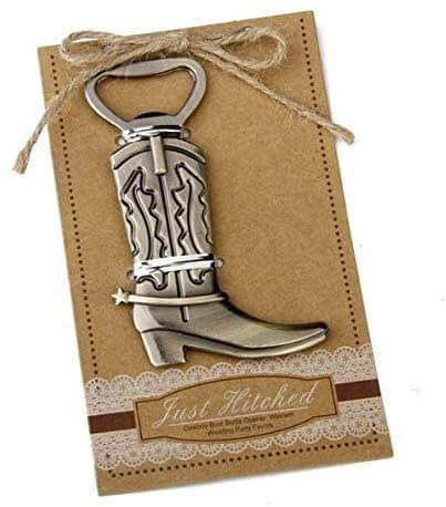 Rustic western themed bottle opener wedding favors