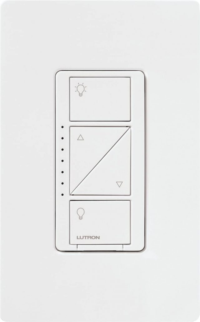 Lutron wireless remote control light switch for smart lighting.