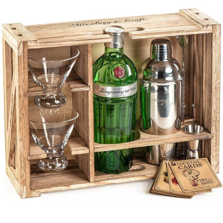 Mixology and craft rustic home bar accessories with stand.
