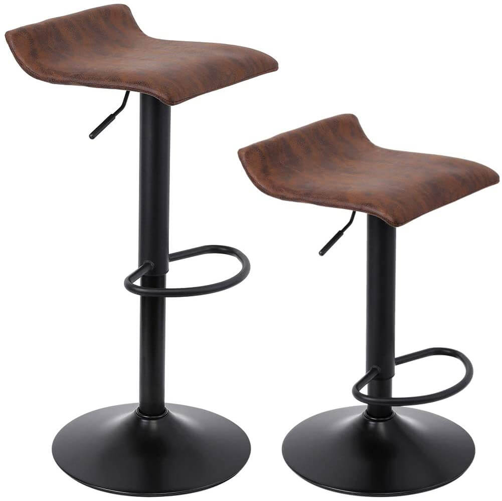 Superjare retro style swivel and adjustable bar stools, set of two.