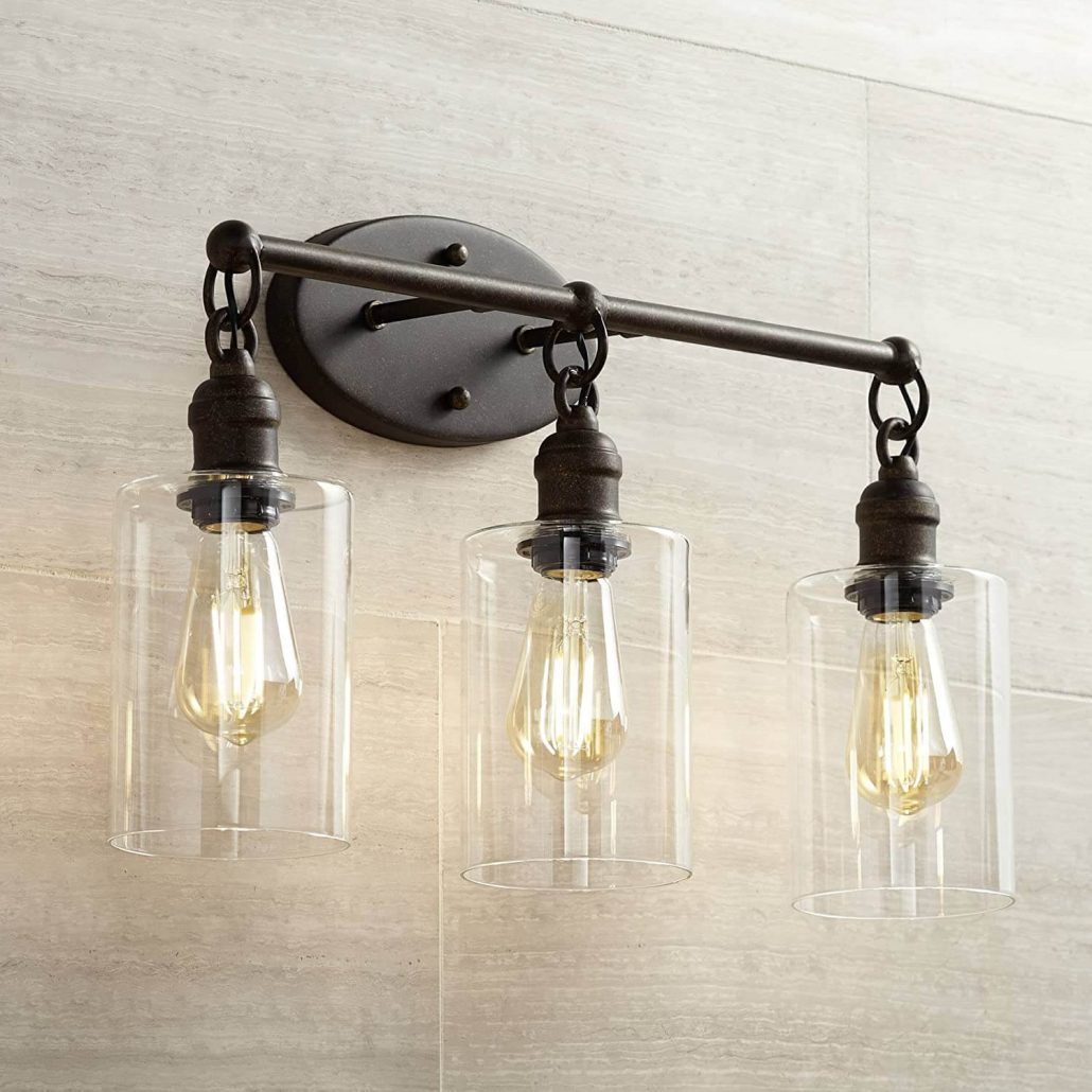 Franklin Iron Works industrial mason jar light fixture.