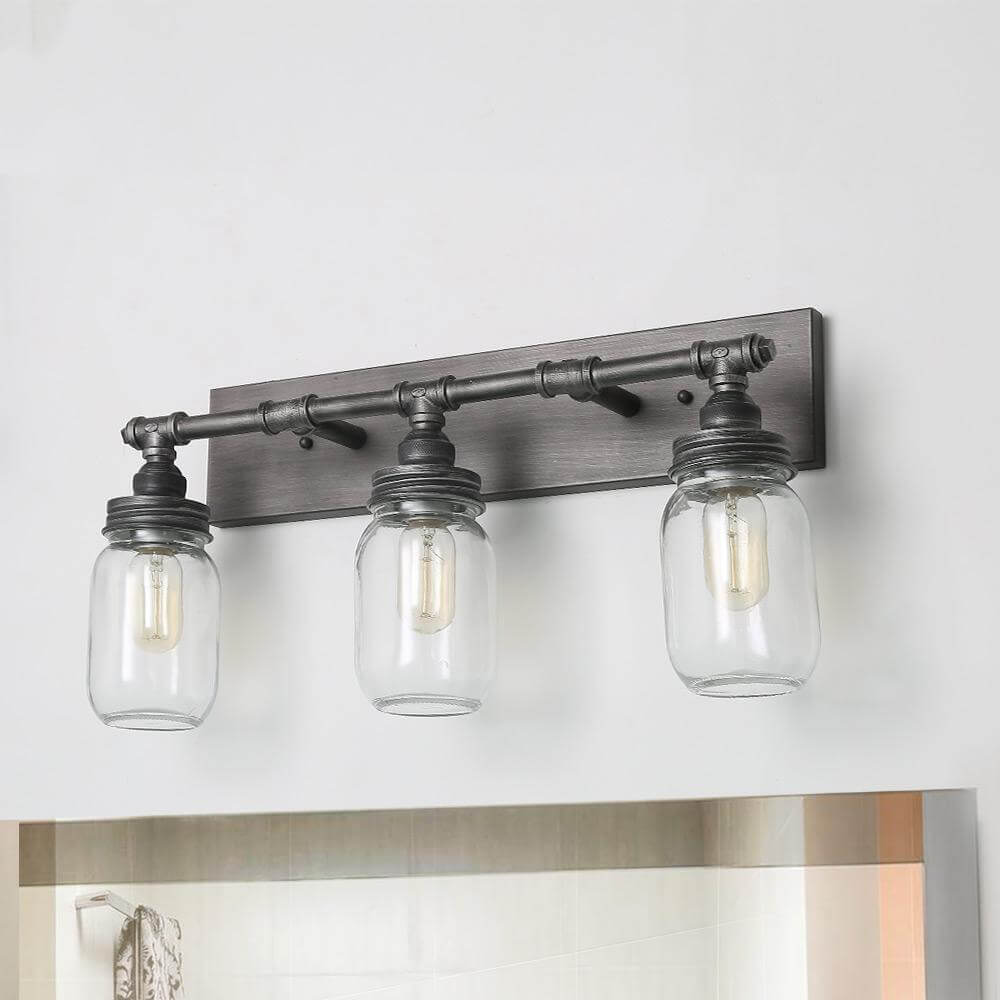 LNC three mason jar light fixture for bathrooms.