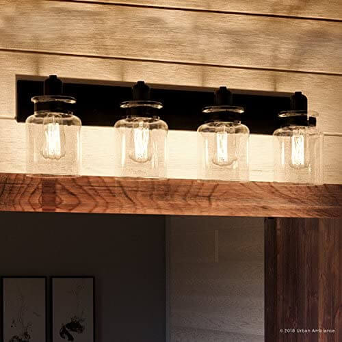 Luxury mason jar vanity light fixture by Urban Ambiance.