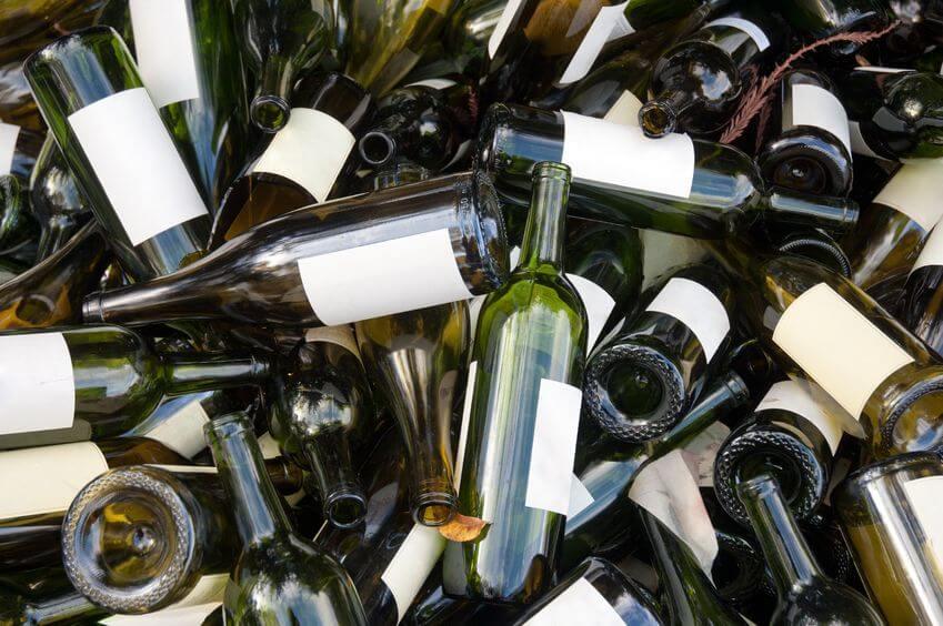 disorganized wine bottle mess