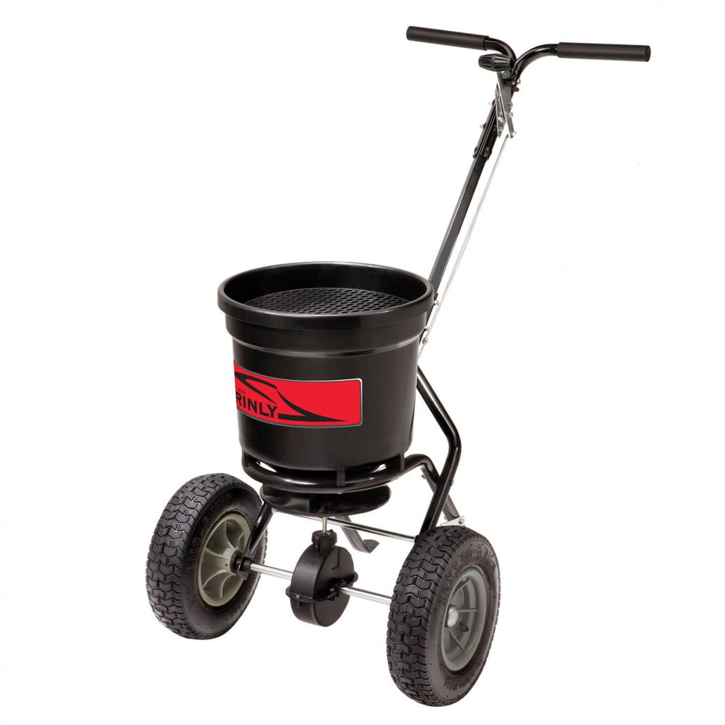 Brinly fifty pound push spreader.