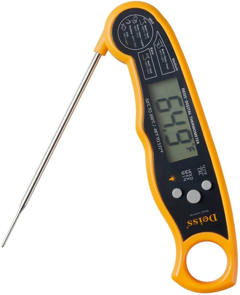 Deiss digital and waterproof meat thermometer.