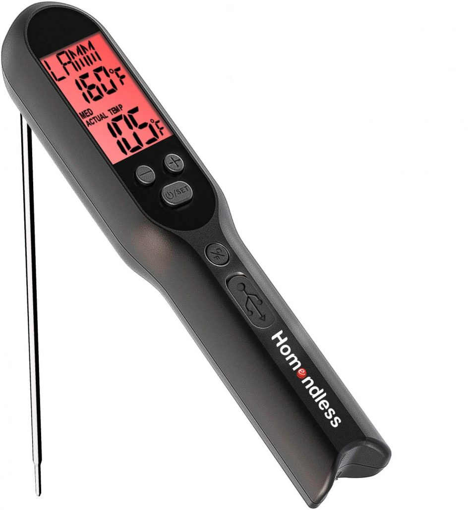 Homeendless meat thermometer with rechargeable battery.