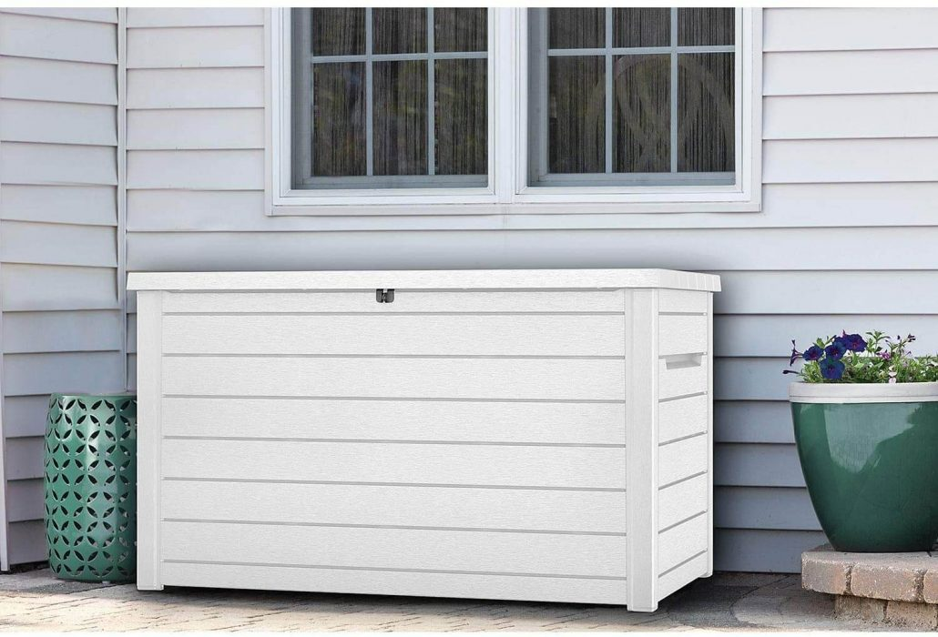Keter deck storage box that holds 230 gallons.