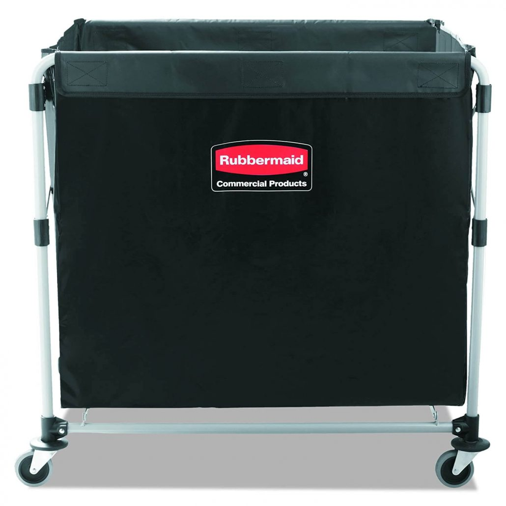 Collapsible storage cart by Rubbermaid with stainless steel frame.