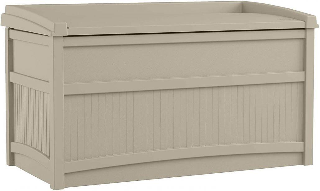 Suncast twenty gallon waterproof outdoor storage container.