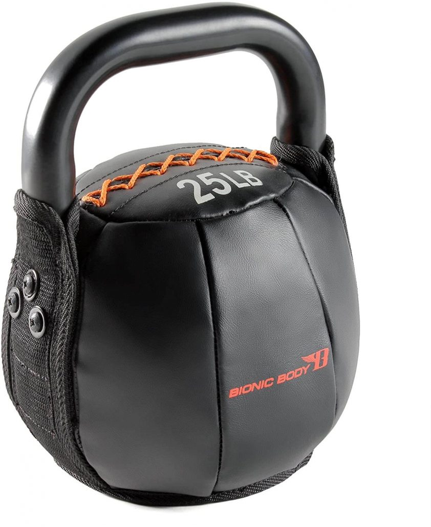 Soft kettlebell with handle by Bionic Body.