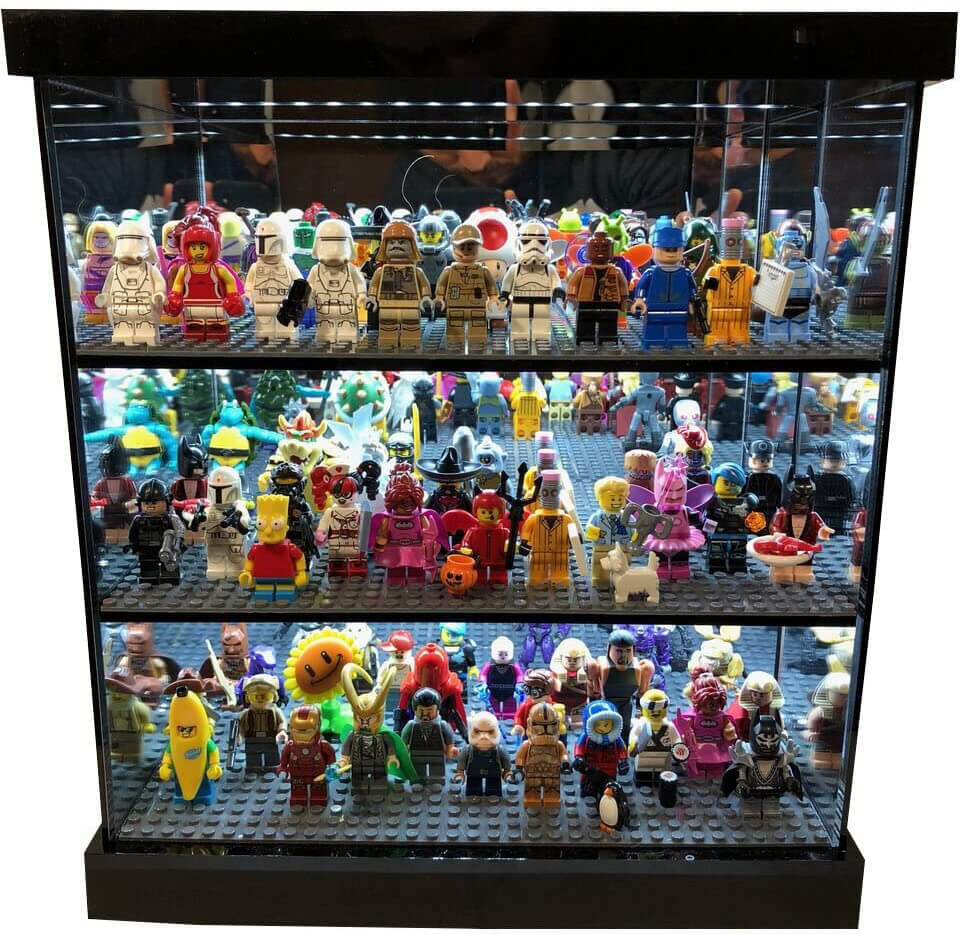 Elite gloss LED lighted and mirrored display case for lego minifigures.