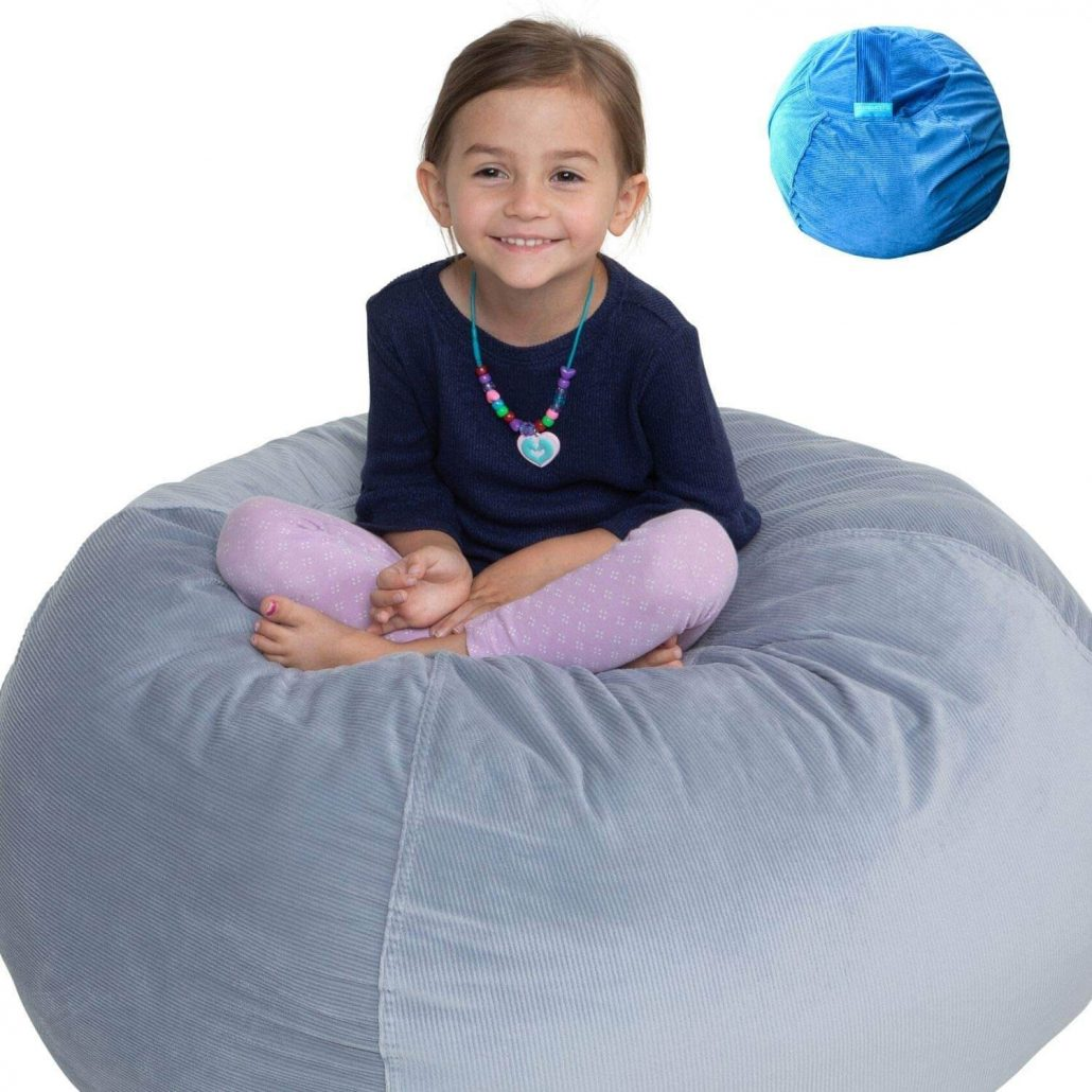 Stuffed animal storage bean bag chair for kids by Emma and Sophie.