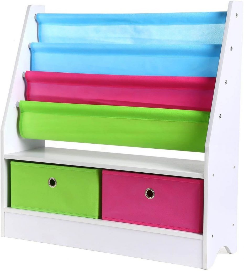 Homfa fabric storage bin for kids books.