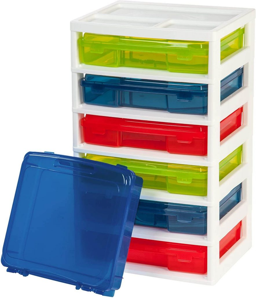 Colored activity chest and toy organizer by Iris.