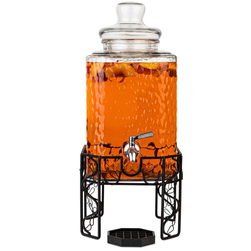 Glass beverage dispenser with decorative stand by Kitchentoolz.
