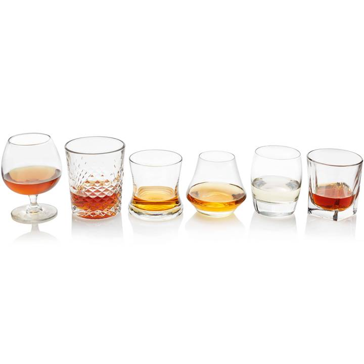 Set of six assorted glassware for sipping spirits by Libbey.
