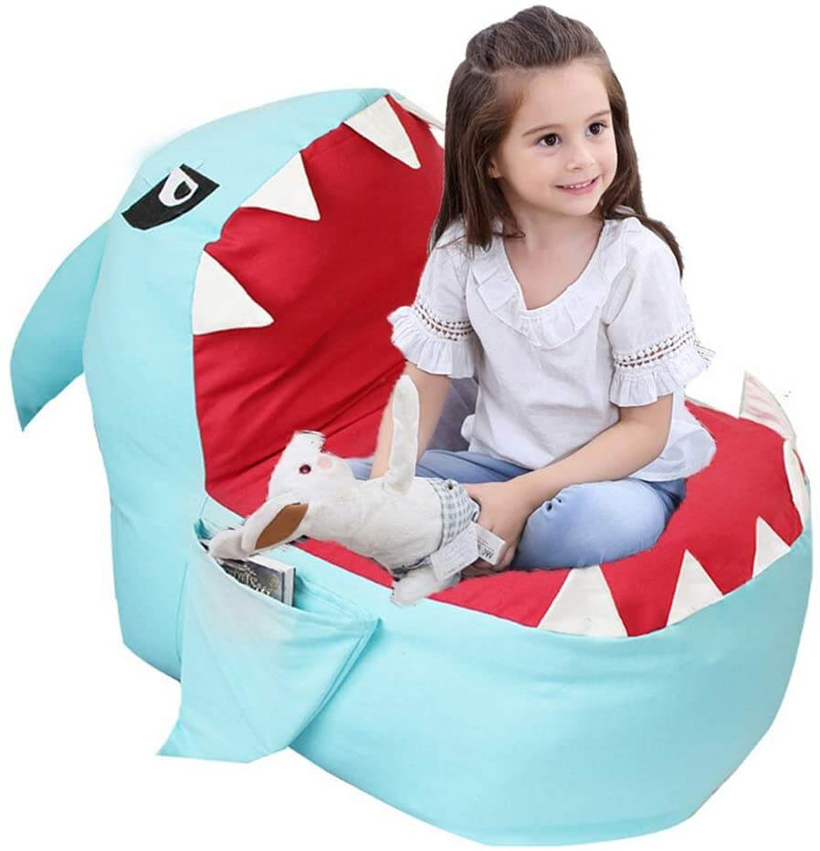 Stuffed animal storage bean bag chair in the shape of a shark by Lmeison.
