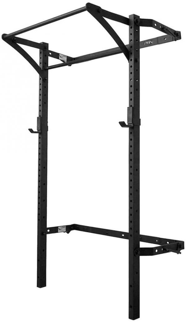 Fold up mounted rack by Murphy Rack for home gyms.