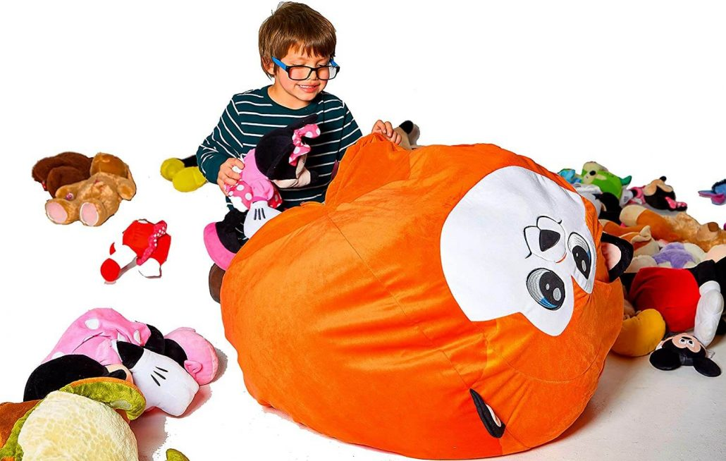 Extra large stuffed animal bean bag chair in the shape of a fox by Roomganize.
