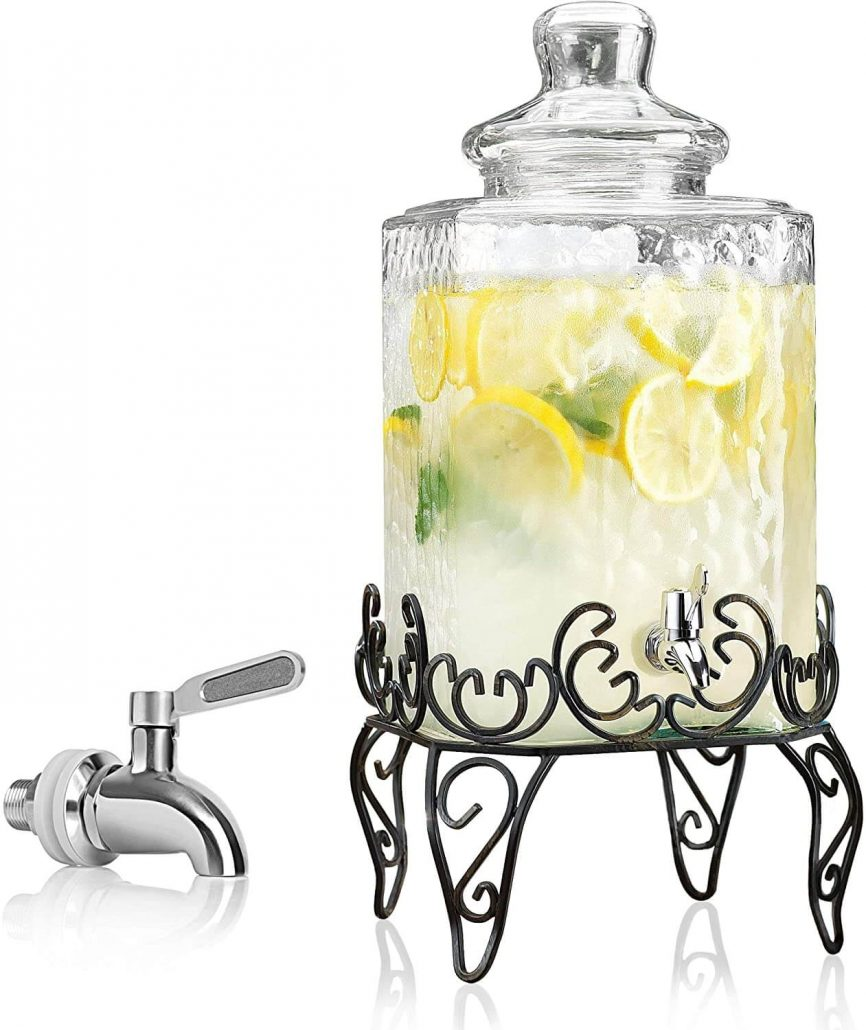 Hammered glass beverage dispenser with stand by RPI.
