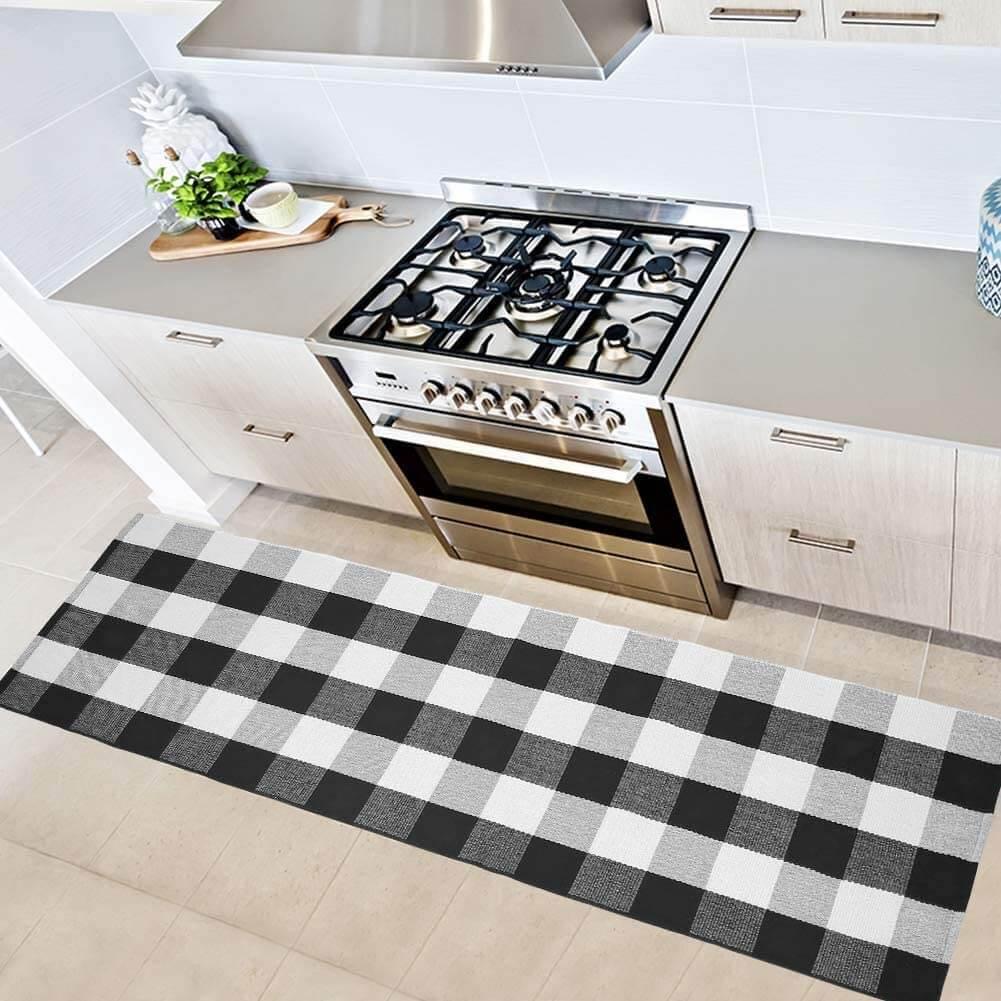 Black and white checkered kitchen rug runner by Ustide.