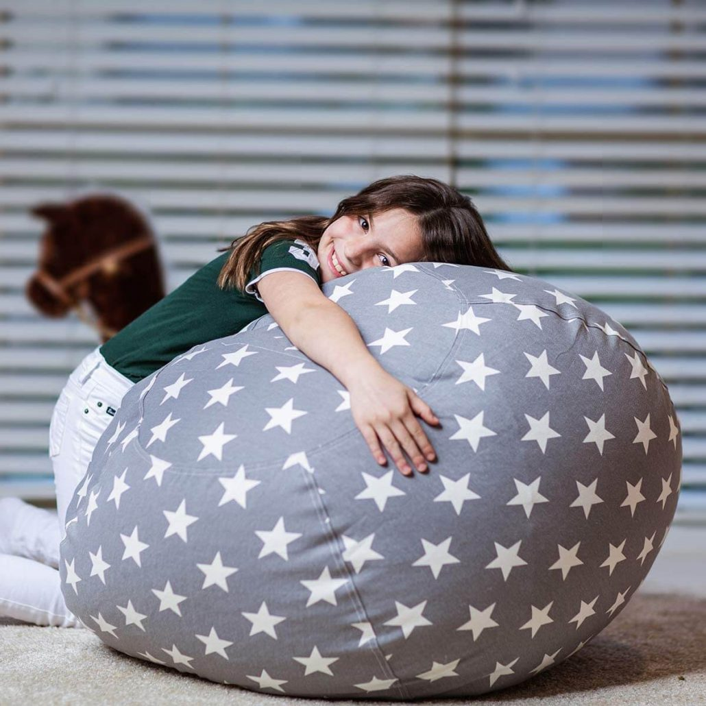Stuffed animal storage bean bag chair cover for kids by Wekapo.