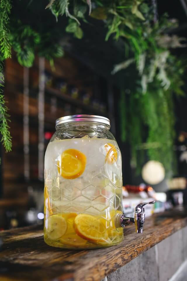 What should you put in a glass beverage dispenser?