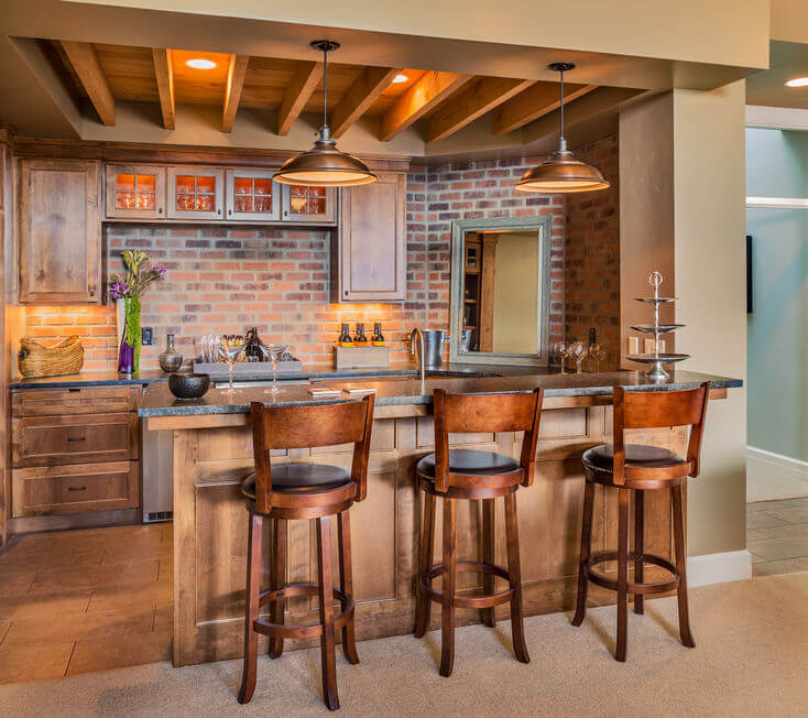 Where should you keep a home bar?
