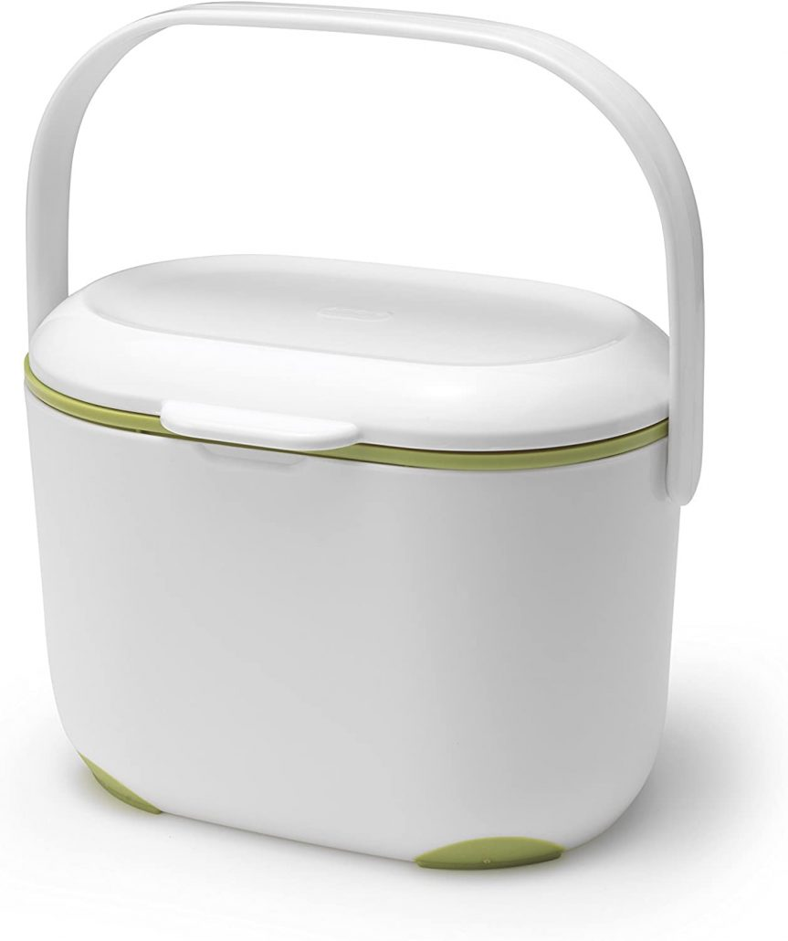 Small countertop kitchen compost caddy by Addis.