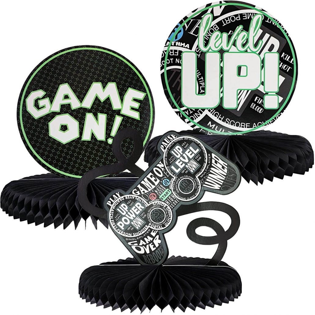 Video game adult party centerpieces.
