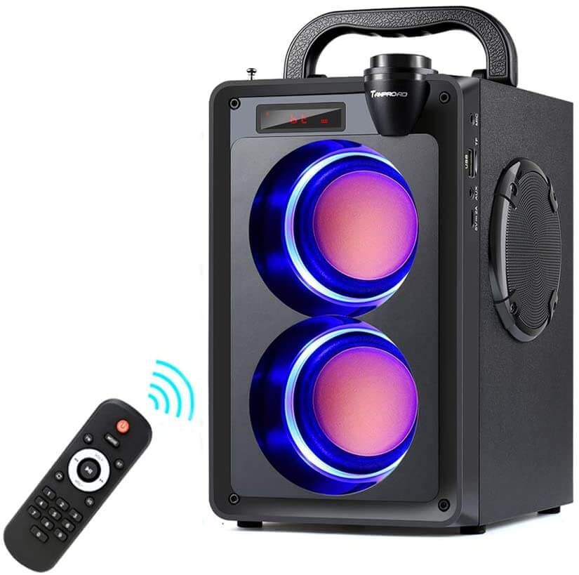 Bluetooth and light-emitting speakers for home.