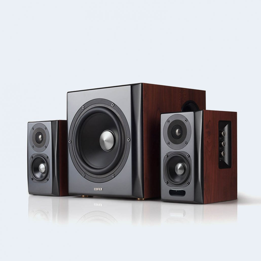 Home bookshelf speaker system and subwoofer by Edifier.