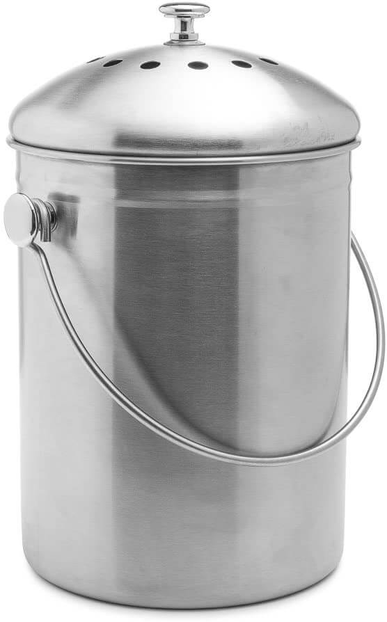 Stainless steel kitchen compost bin by Epica.
