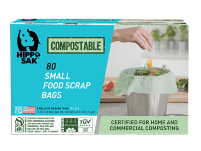 Small compostable food scrap bags by Hippo Sak.
