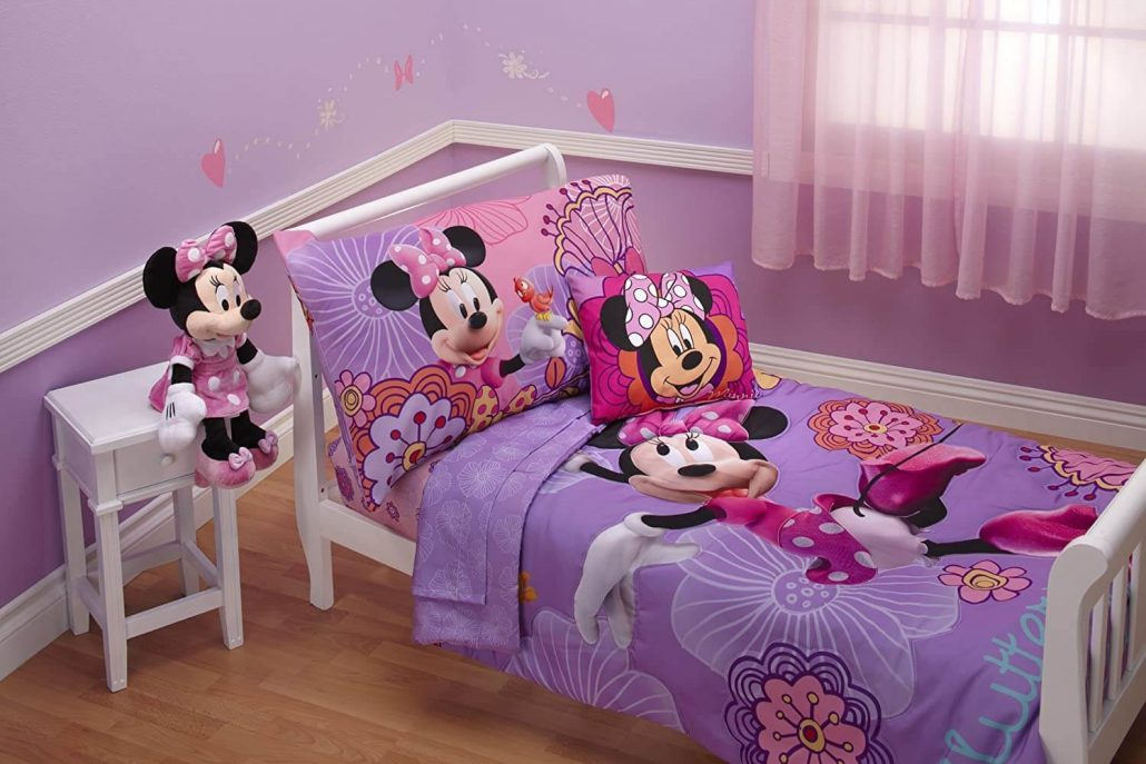 Minnie Mouse toddler bed set by Disney.