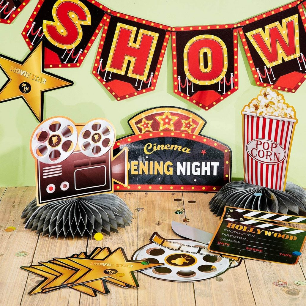 Movie night party decorations for adults.