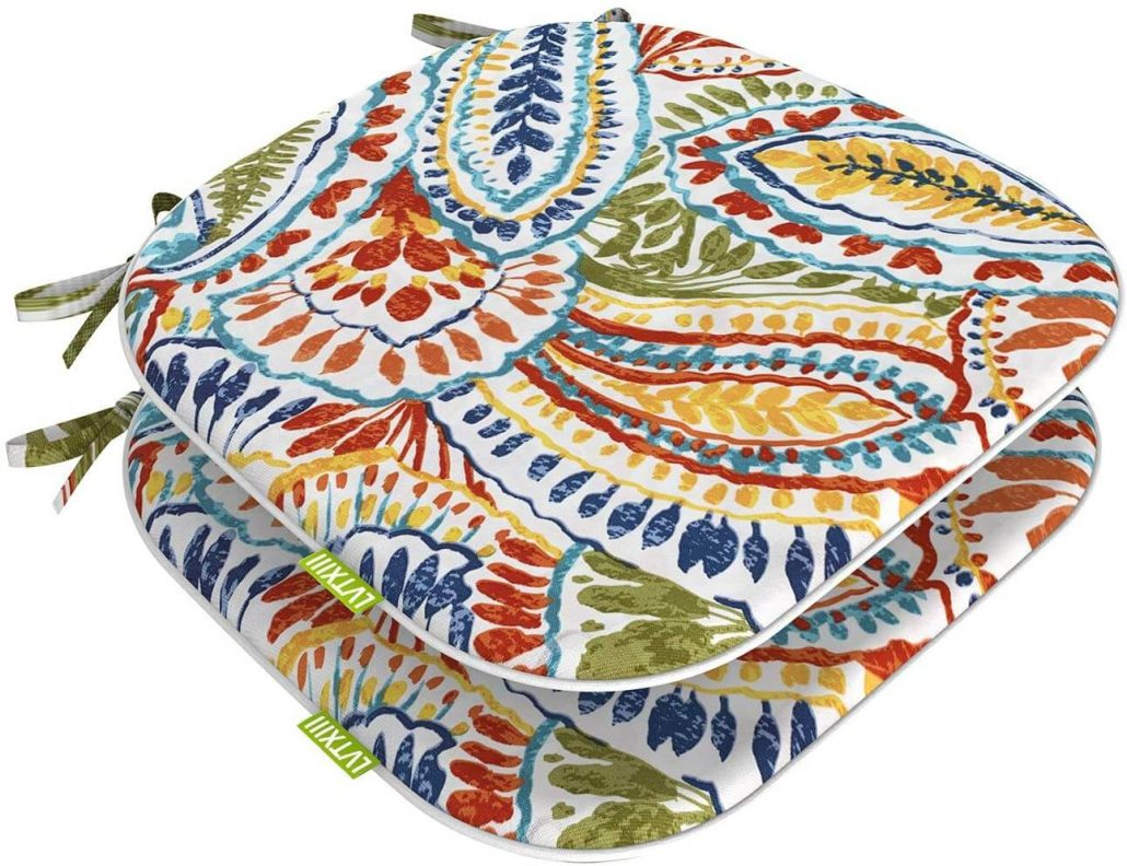 Colorful outdoor seat cushions with ties.
