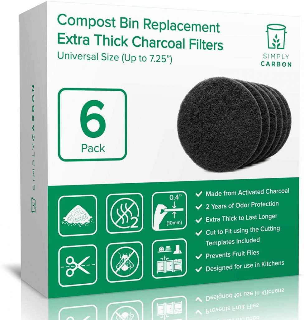Extra thick charcoal filters for kitchen compost bins by Simply Carbon.
